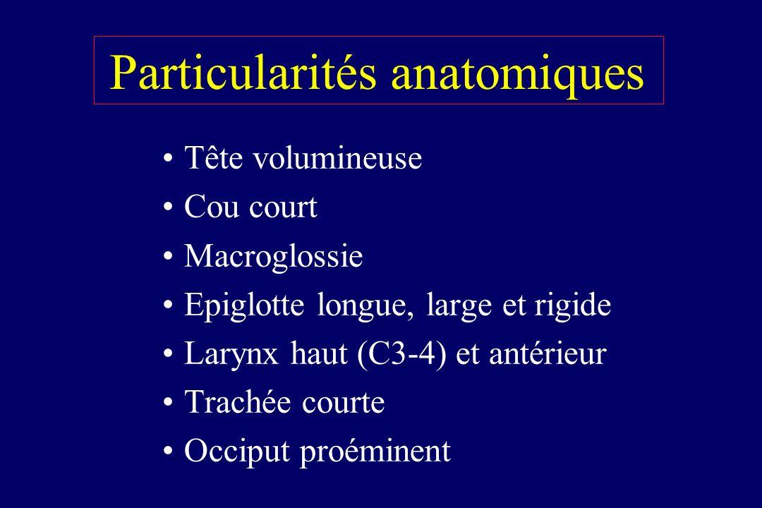 Particularités anatomiques Tête volumineuse Cou court Macroglossie Epiglotte longue, large et rigide Larynx haut (C3-4) et antérieur Trachée courte Oc