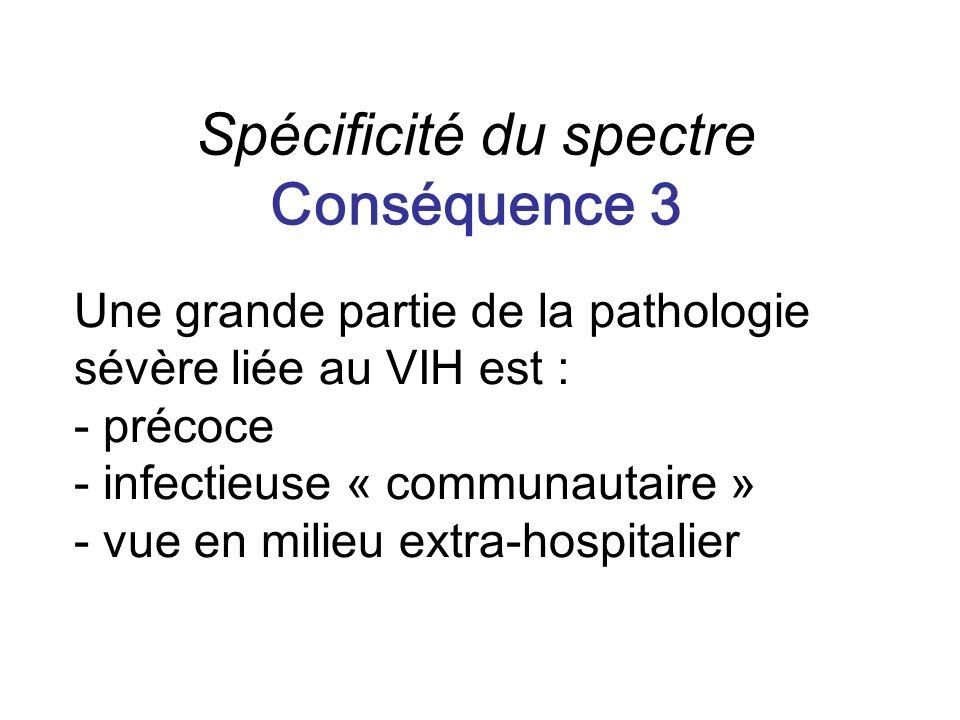 Une grande partie de la pathologie sévère liée au VIH est : - précoce - infectieuse « communautaire » - vue en milieu extra-hospitalier Spécificité du spectre Conséquence 3