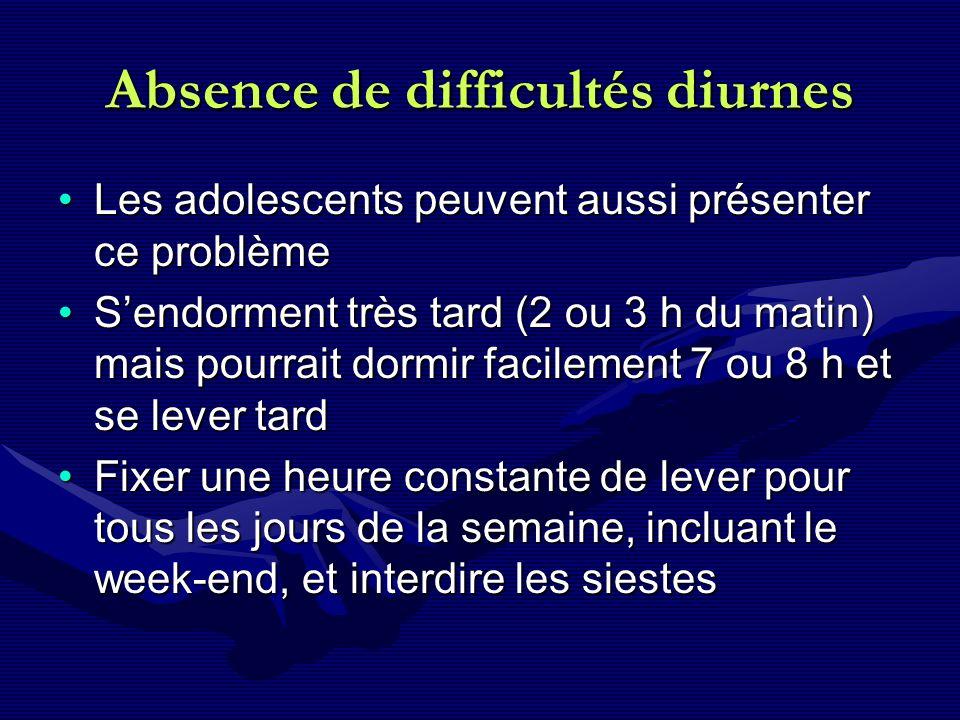 Absence de difficultés diurnes Les adolescents peuvent aussi présenter ce problèmeLes adolescents peuvent aussi présenter ce problème Sendorment très