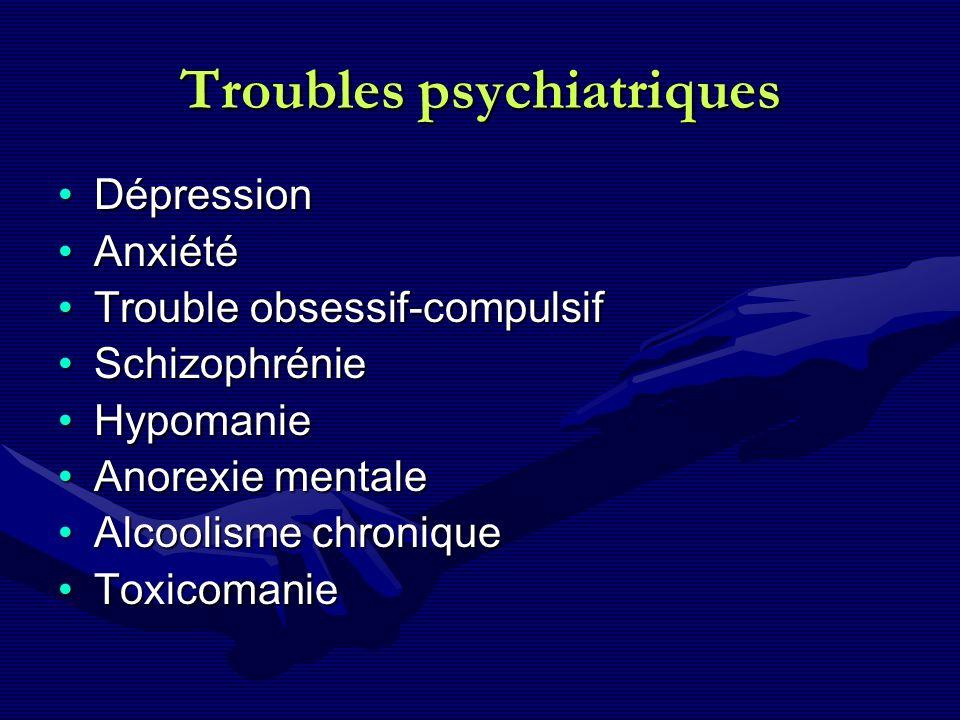 Troubles psychiatriques DépressionDépression AnxiétéAnxiété Trouble obsessif-compulsifTrouble obsessif-compulsif SchizophrénieSchizophrénie HypomanieH