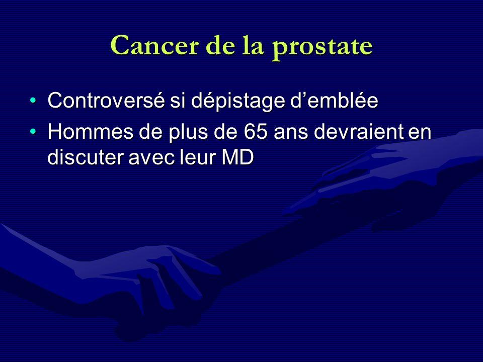 Cancer de la prostate Controversé si dépistage dembléeControversé si dépistage demblée Hommes de plus de 65 ans devraient en discuter avec leur MDHomm