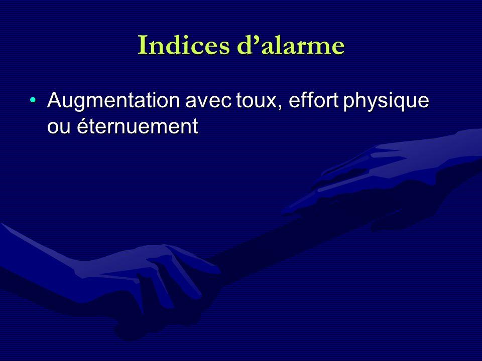 Indices dalarme Augmentation avec toux, effort physique ou éternuementAugmentation avec toux, effort physique ou éternuement