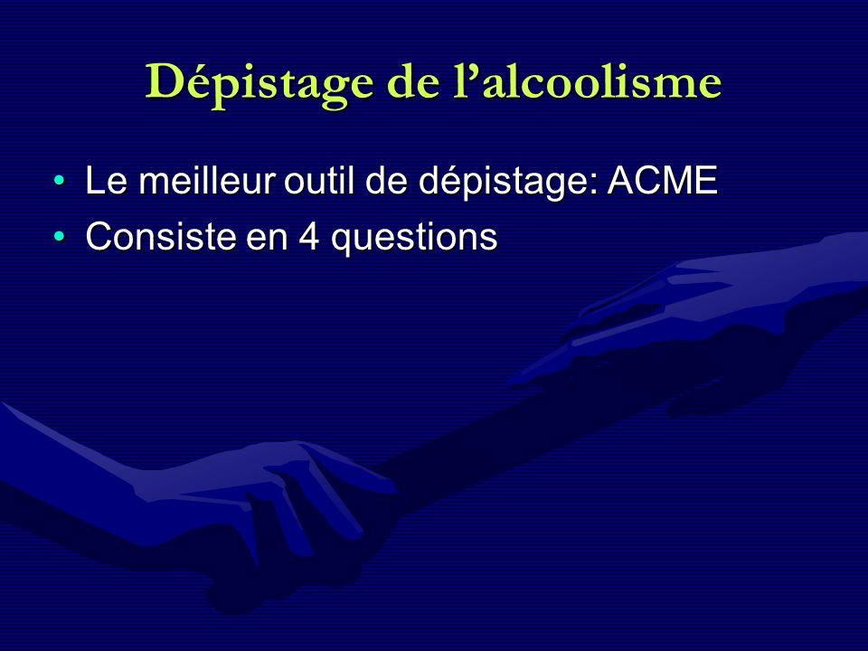 Dépistage de lalcoolisme Le meilleur outil de dépistage: ACMELe meilleur outil de dépistage: ACME Consiste en 4 questionsConsiste en 4 questions