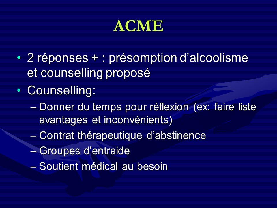 ACME 2 réponses + : présomption dalcoolisme et counselling proposé2 réponses + : présomption dalcoolisme et counselling proposé Counselling:Counsellin