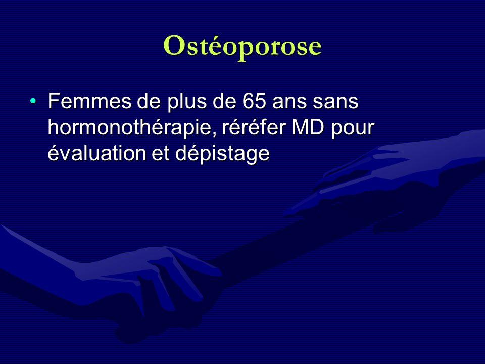 Ostéoporose Femmes de plus de 65 ans sans hormonothérapie, réréfer MD pour évaluation et dépistageFemmes de plus de 65 ans sans hormonothérapie, réréf