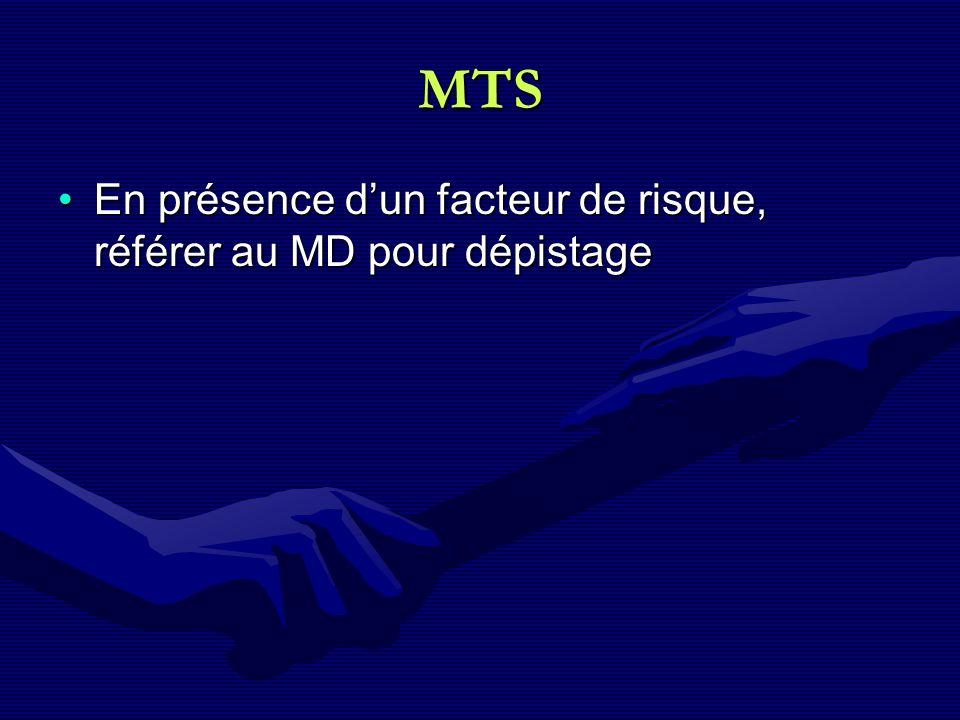 MTS En présence dun facteur de risque, référer au MD pour dépistageEn présence dun facteur de risque, référer au MD pour dépistage