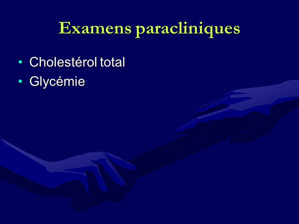 Examens paracliniques Cholestérol totalCholestérol total GlycémieGlycémie