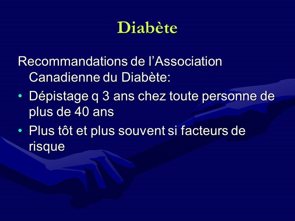 Diabète Recommandations de lAssociation Canadienne du Diabète: Dépistage q 3 ans chez toute personne de plus de 40 ansDépistage q 3 ans chez toute per