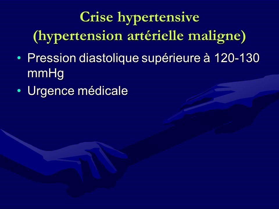 Crise hypertensive (hypertension artérielle maligne) Pression diastolique supérieure à 120-130 mmHgPression diastolique supérieure à 120-130 mmHg Urge