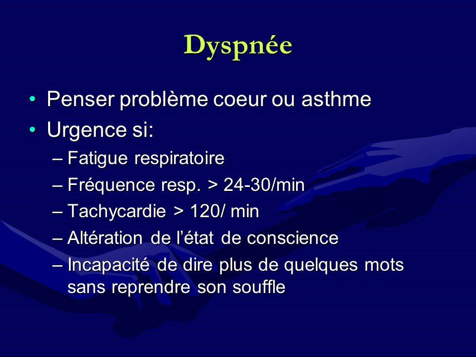 Dyspnée Penser problème coeur ou asthmePenser problème coeur ou asthme Urgence si:Urgence si: –Fatigue respiratoire –Fréquence resp. > 24-30/min –Tach