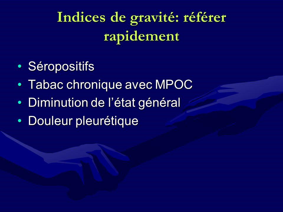 Indices de gravité: référer rapidement SéropositifsSéropositifs Tabac chronique avec MPOCTabac chronique avec MPOC Diminution de létat généralDiminuti