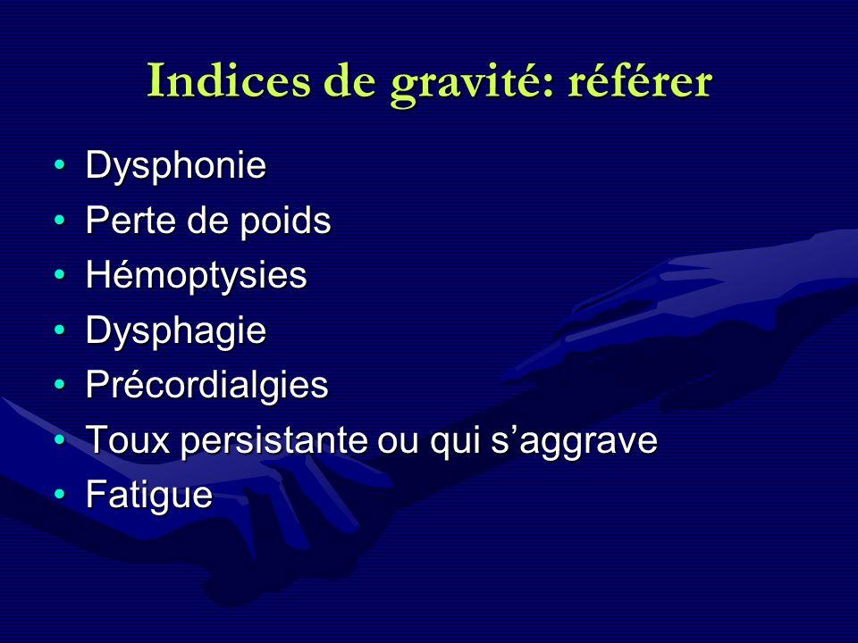 Indices de gravité: référer DysphonieDysphonie Perte de poidsPerte de poids HémoptysiesHémoptysies DysphagieDysphagie PrécordialgiesPrécordialgies Tou