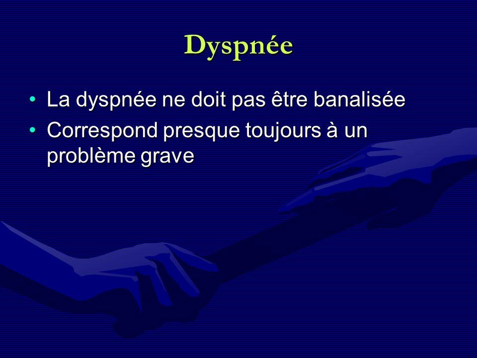 Dyspnée La dyspnée ne doit pas être banaliséeLa dyspnée ne doit pas être banalisée Correspond presque toujours à un problème graveCorrespond presque t