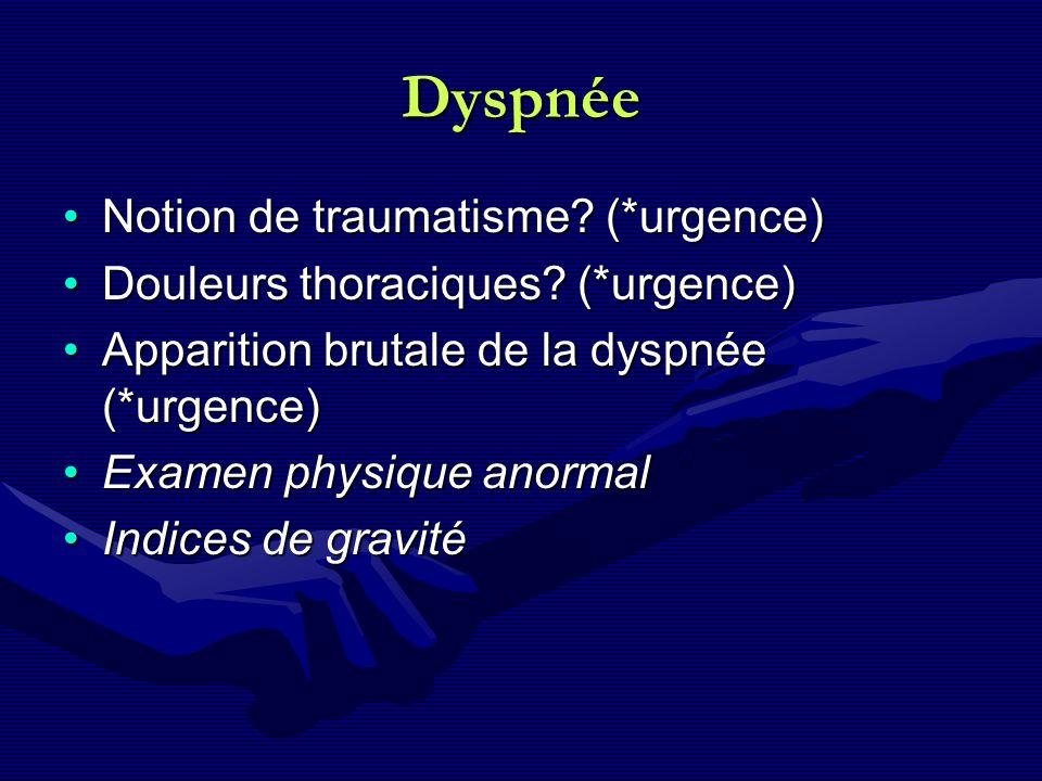 Dyspnée Notion de traumatisme? (*urgence)Notion de traumatisme? (*urgence) Douleurs thoraciques? (*urgence)Douleurs thoraciques? (*urgence) Apparition