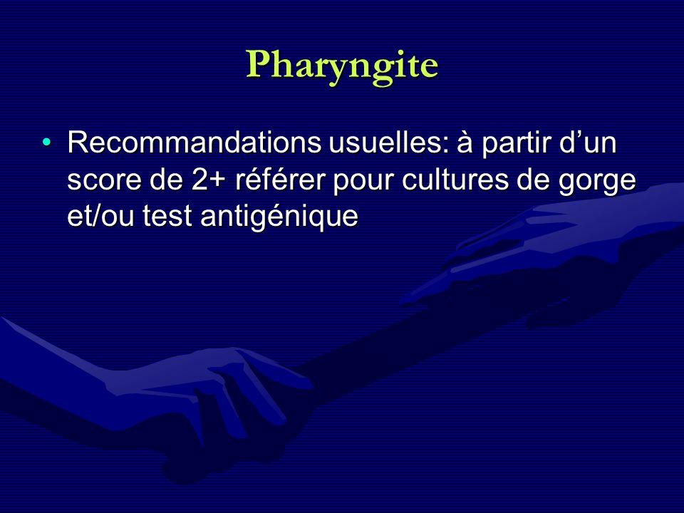 Pharyngite Recommandations usuelles: à partir dun score de 2+ référer pour cultures de gorge et/ou test antigéniqueRecommandations usuelles: à partir