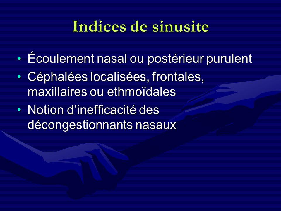 Indices de sinusite Écoulement nasal ou postérieur purulentÉcoulement nasal ou postérieur purulent Céphalées localisées, frontales, maxillaires ou eth
