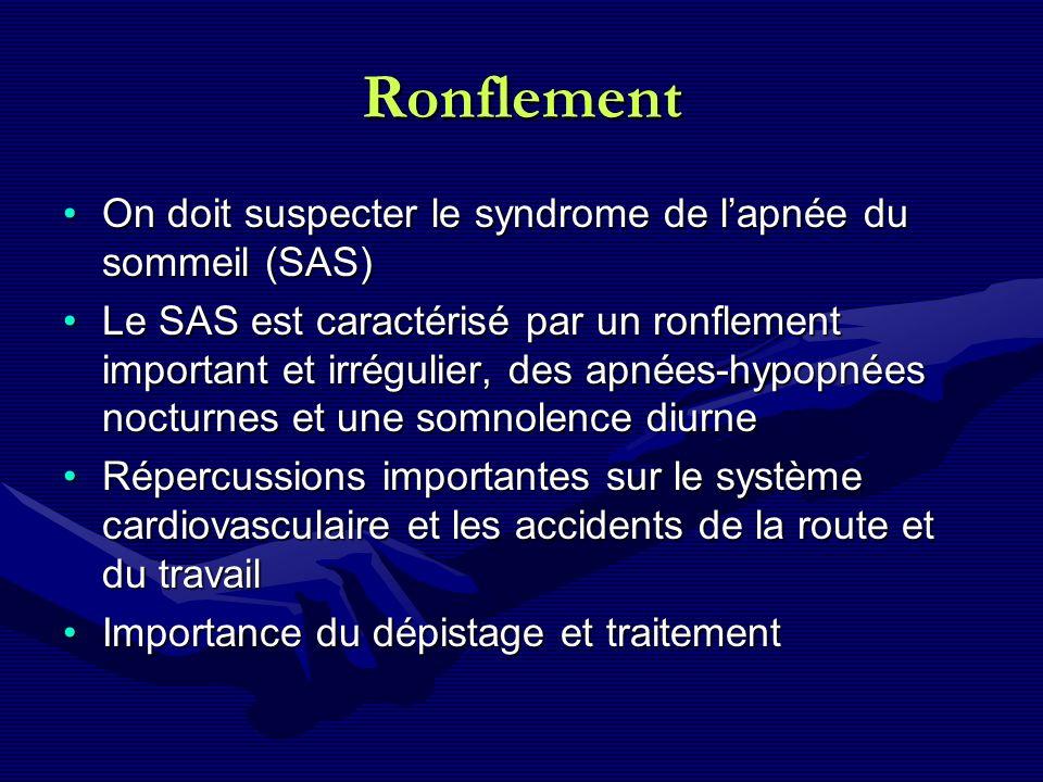 Ronflement On doit suspecter le syndrome de lapnée du sommeil (SAS)On doit suspecter le syndrome de lapnée du sommeil (SAS) Le SAS est caractérisé par