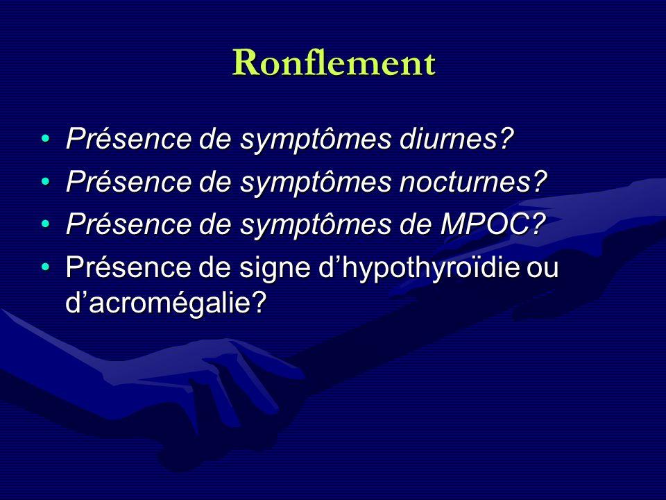 Ronflement Présence de symptômes diurnes?Présence de symptômes diurnes? Présence de symptômes nocturnes?Présence de symptômes nocturnes? Présence de s