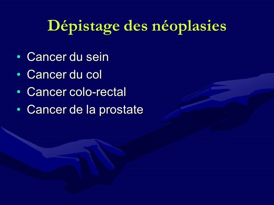 Dépistage des néoplasies Cancer du seinCancer du sein Cancer du colCancer du col Cancer colo-rectalCancer colo-rectal Cancer de la prostateCancer de l
