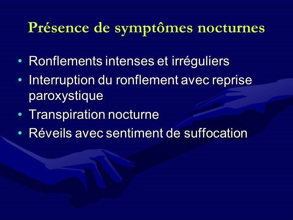 Présence de symptômes nocturnes Ronflements intenses et irréguliersRonflements intenses et irréguliers Interruption du ronflement avec reprise paroxys
