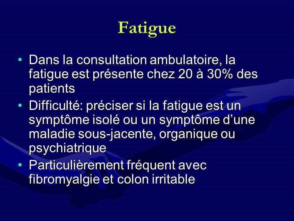 Fatigue Dans la consultation ambulatoire, la fatigue est présente chez 20 à 30% des patientsDans la consultation ambulatoire, la fatigue est présente