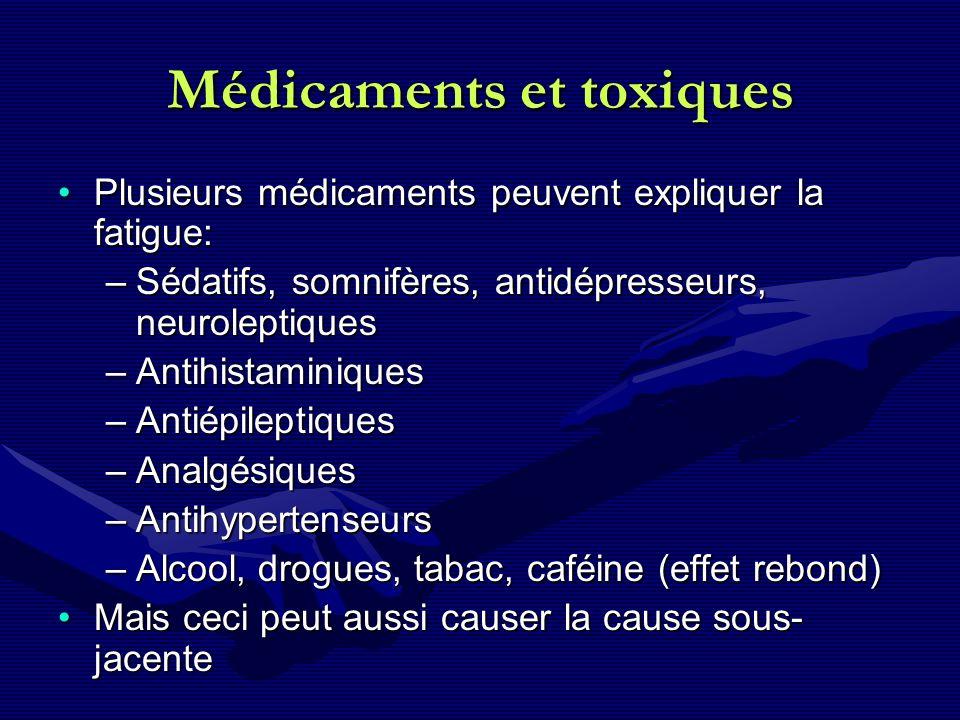 Médicaments et toxiques Plusieurs médicaments peuvent expliquer la fatigue:Plusieurs médicaments peuvent expliquer la fatigue: –Sédatifs, somnifères,