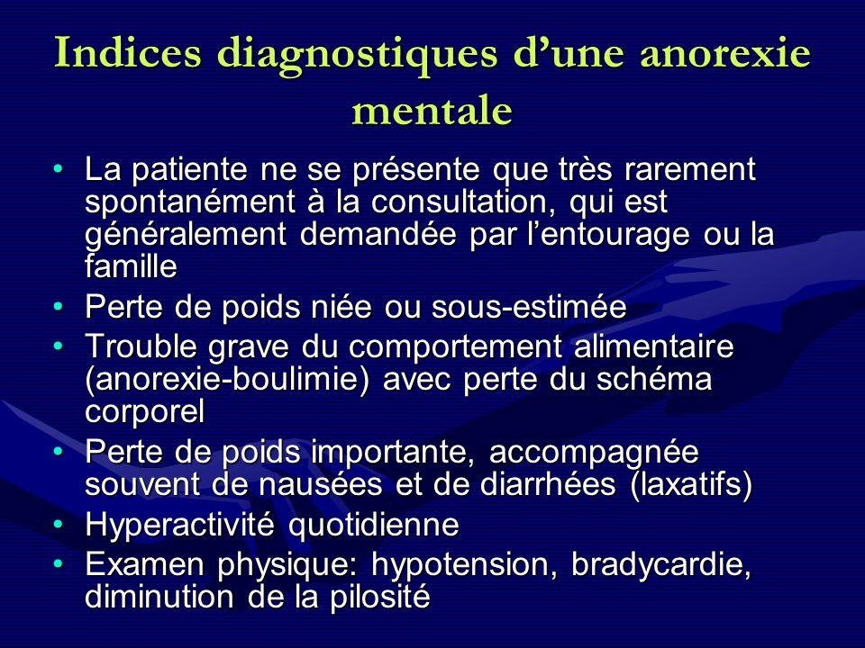 Indices diagnostiques dune anorexie mentale La patiente ne se présente que très rarement spontanément à la consultation, qui est généralement demandée