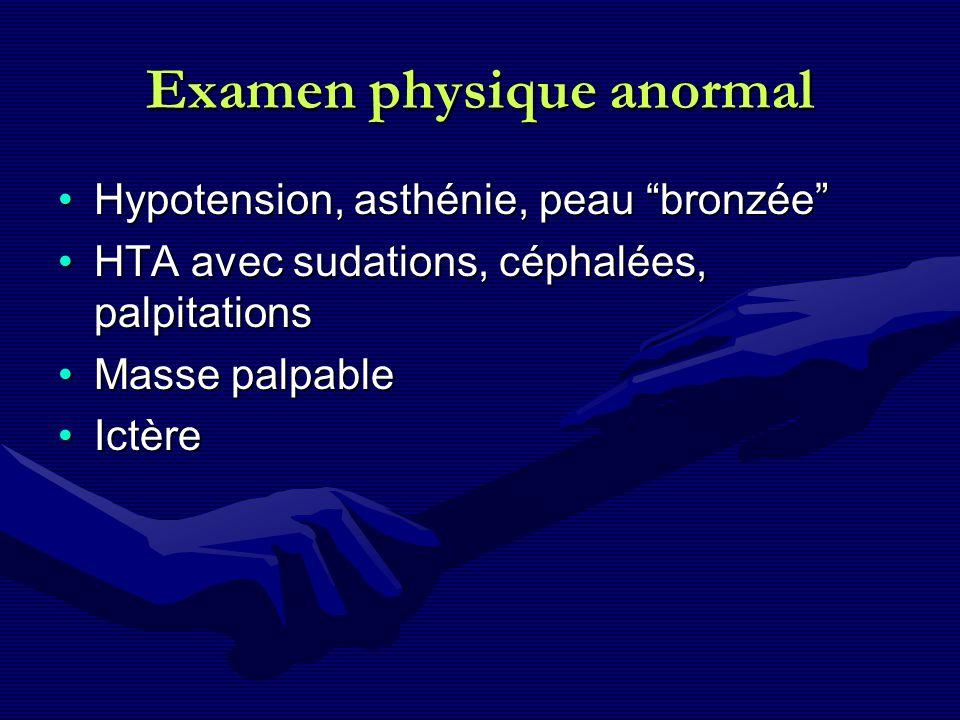 Examen physique anormal Hypotension, asthénie, peau bronzéeHypotension, asthénie, peau bronzée HTA avec sudations, céphalées, palpitationsHTA avec sud