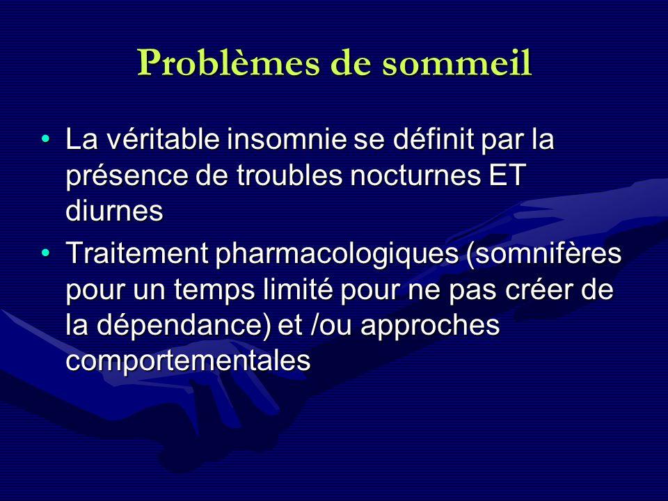 Problèmes de sommeil La véritable insomnie se définit par la présence de troubles nocturnes ET diurnesLa véritable insomnie se définit par la présence
