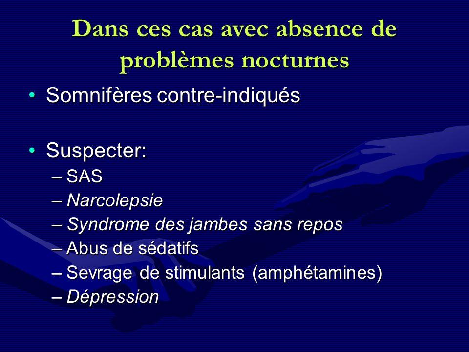 Dans ces cas avec absence de problèmes nocturnes Somnifères contre-indiquésSomnifères contre-indiqués Suspecter:Suspecter: –SAS –Narcolepsie –Syndrome