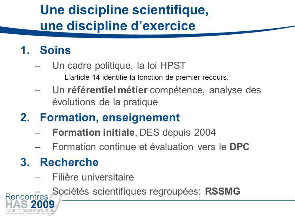 Une discipline scientifique, une discipline dexercice 1.Soins –Un cadre politique, la loi HPST Larticle 14 identifie la fonction de premier recours.