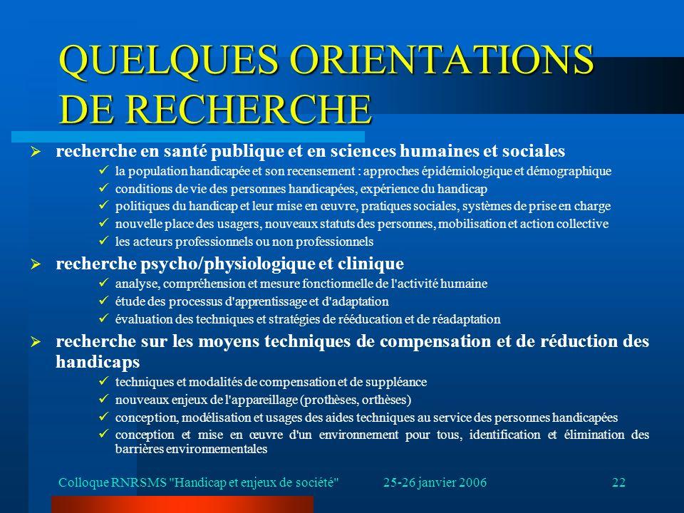 25-26 janvier 2006Colloque RNRSMS