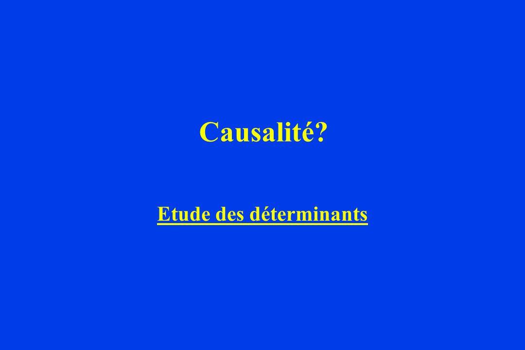 Causalité? Etude des déterminants