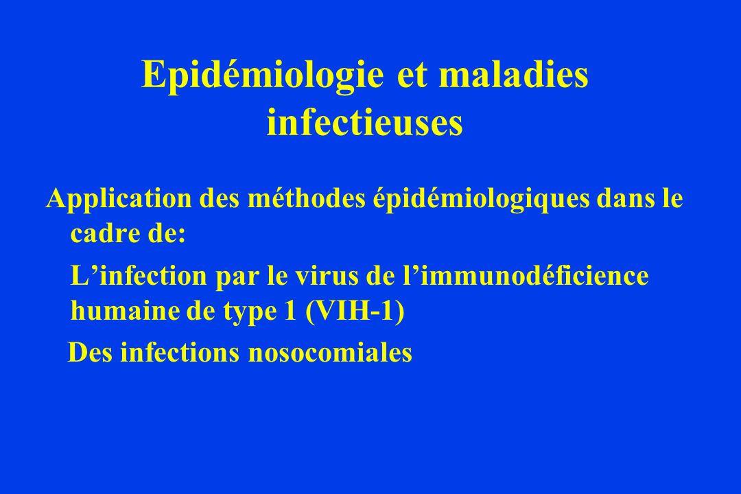 Epidémiologie et maladies infectieuses Application des méthodes épidémiologiques dans le cadre de: Linfection par le virus de limmunodéficience humaine de type 1 (VIH-1) Des infections nosocomiales