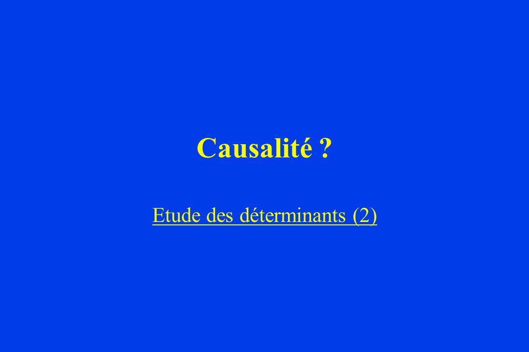 Causalité ? Etude des déterminants (2)