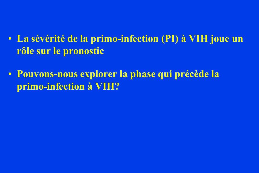 La sévérité de la primo-infection (PI) à VIH joue un rôle sur le pronostic Pouvons-nous explorer la phase qui précède la primo-infection à VIH?