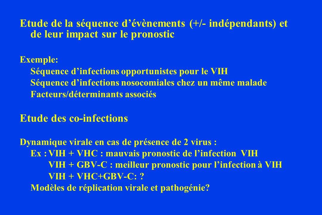 Etude de la séquence dévènements (+/- indépendants) et de leur impact sur le pronostic Exemple: Séquence dinfections opportunistes pour le VIH Séquence dinfections nosocomiales chez un même malade Facteurs/déterminants associés Etude des co-infections Dynamique virale en cas de présence de 2 virus : Ex :VIH + VHC : mauvais pronostic de linfection VIH VIH + GBV-C : meilleur pronostic pour linfection à VIH VIH + VHC+GBV-C: .