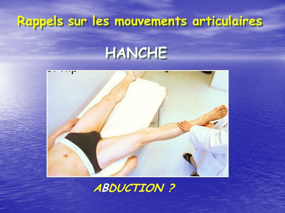 Rappels sur les mouvements articulaires HANCHE ABDUCTION ?
