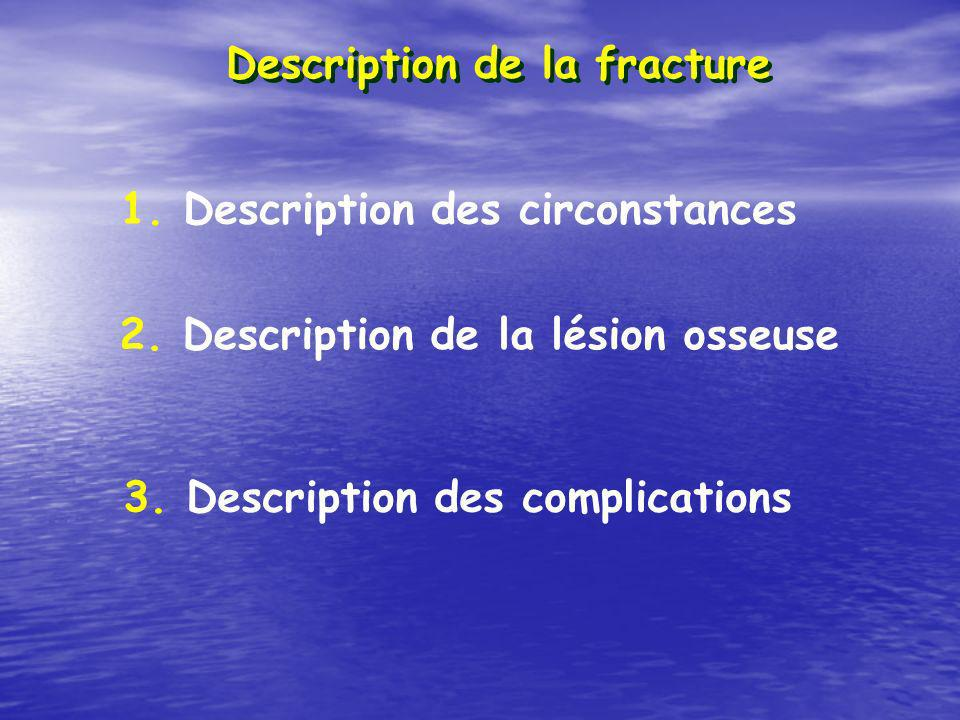 Description de la fracture 1. Description des circonstances 2. Description de la lésion osseuse 3. Description des complications