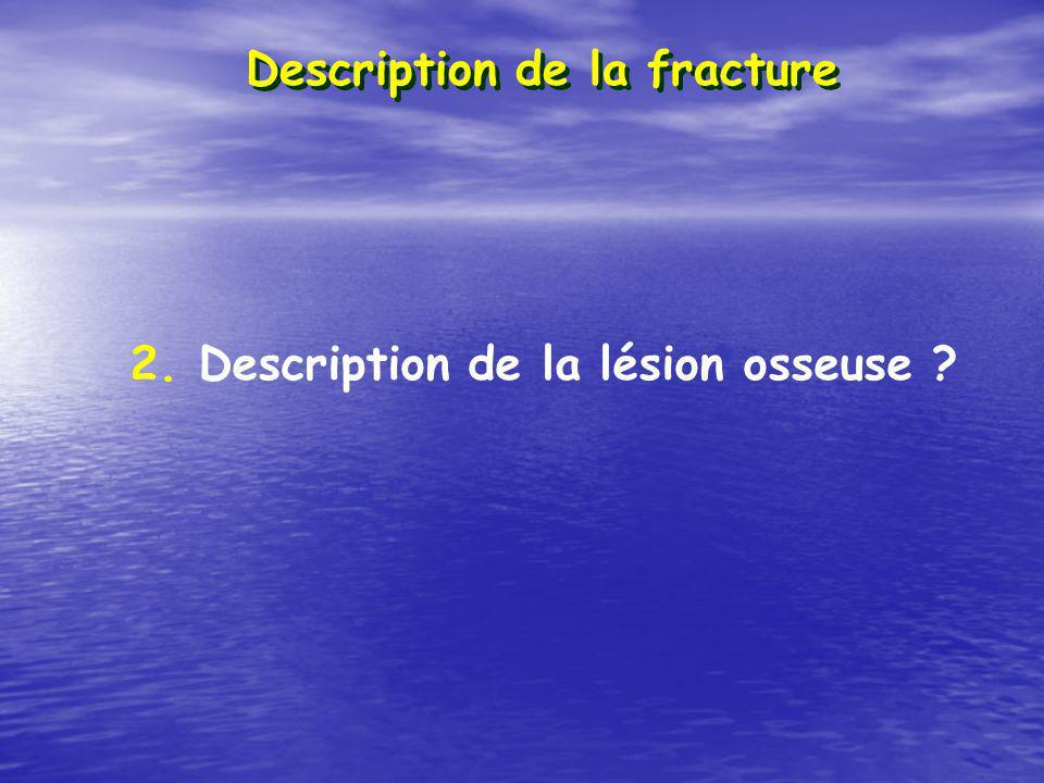 Description de la fracture 2. Description de la lésion osseuse ?