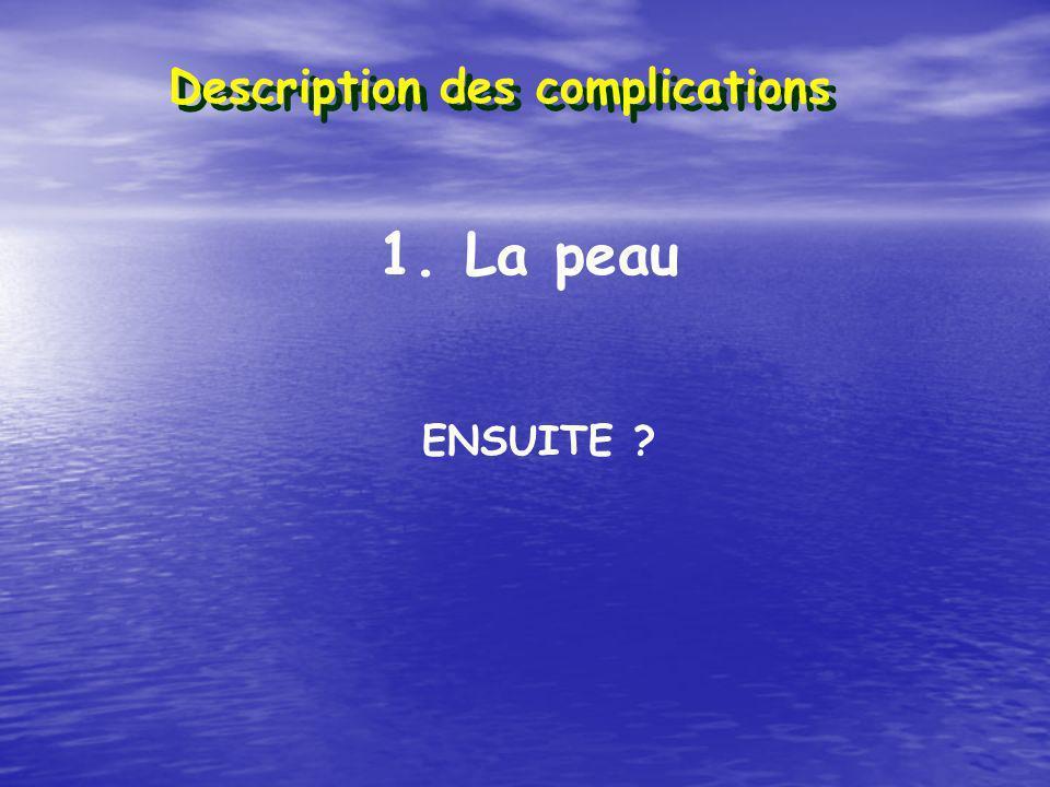 Description des complications 1. La peau ENSUITE ?