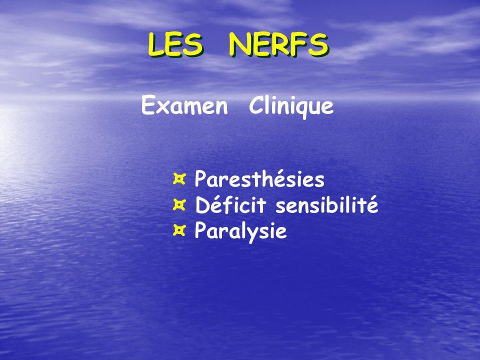 Examen Clinique ¤ Paresthésies ¤ Déficit sensibilité ¤ Paralysie
