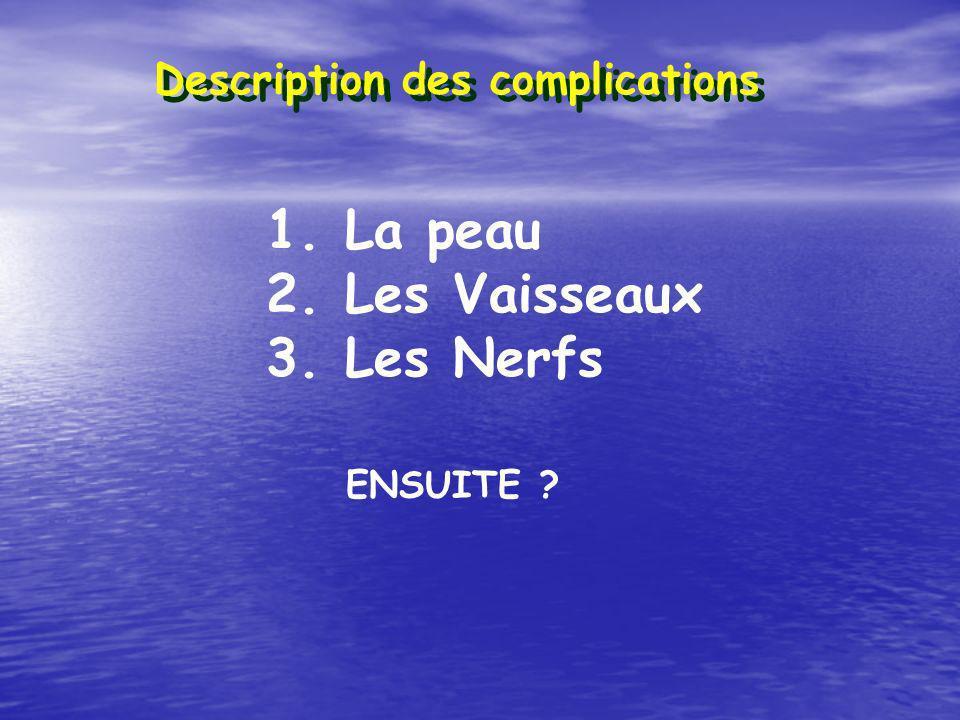 Description des complications 1. La peau 2. Les Vaisseaux 3. Les Nerfs ENSUITE ?