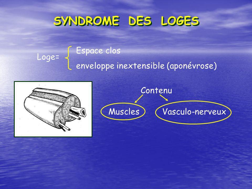 SYNDROME DES LOGES Loge= Vasculo-nerveux Espace clos enveloppe inextensible (aponévrose) Muscles Contenu