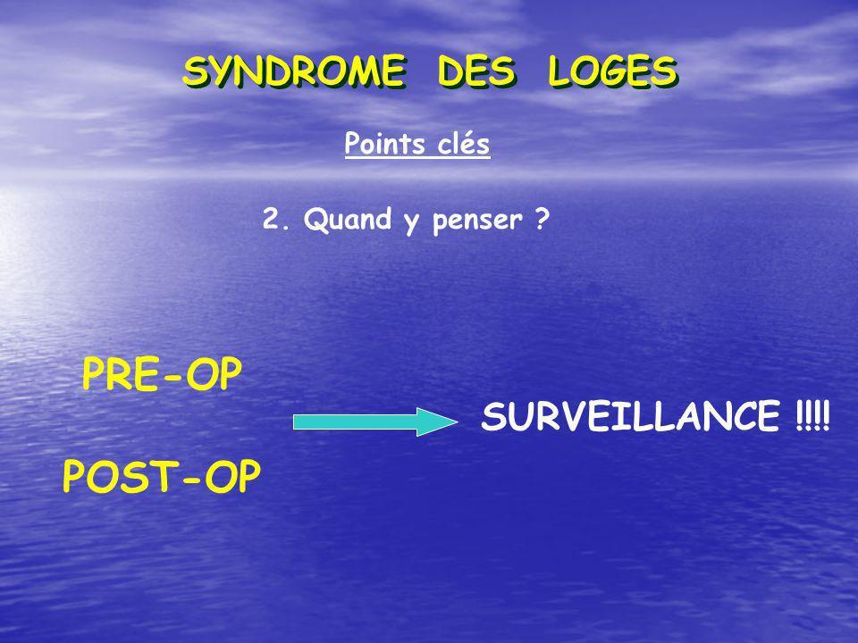 Points clés 2. Quand y penser ? PRE-OP POST-OP SURVEILLANCE !!!! SYNDROME DES LOGES