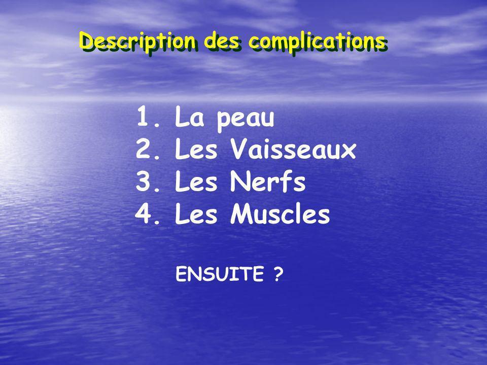 Description des complications 1. La peau 2. Les Vaisseaux 3. Les Nerfs 4. Les Muscles ENSUITE ?
