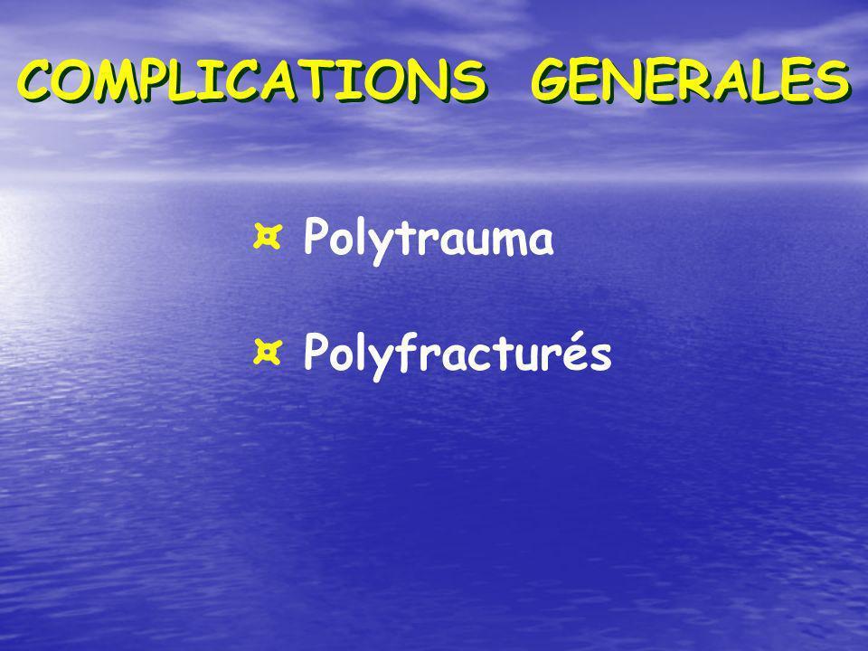 COMPLICATIONS GENERALES ¤ Polytrauma ¤ Polyfracturés