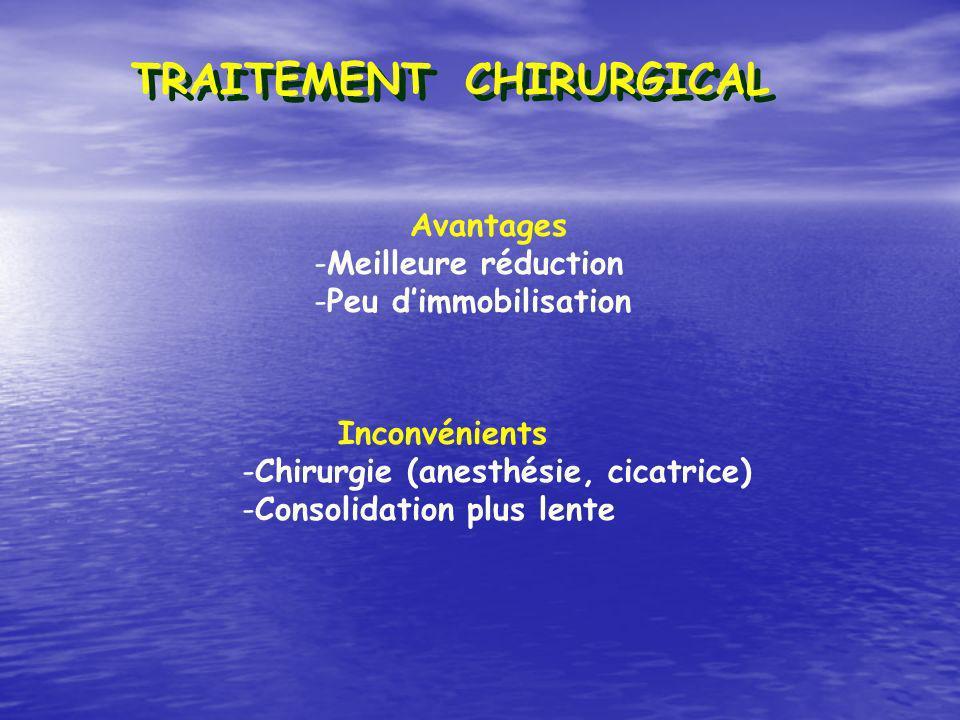 Avantages -Meilleure réduction -Peu dimmobilisation Inconvénients -Chirurgie (anesthésie, cicatrice) -Consolidation plus lente TRAITEMENT CHIRURGICAL