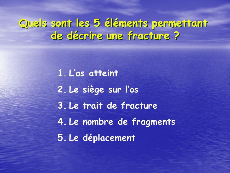 Quels sont les 5 éléments permettant de décrire une fracture ? 1.Los atteint 2.Le siège sur los 3.Le trait de fracture 4.Le nombre de fragments 5.Le d