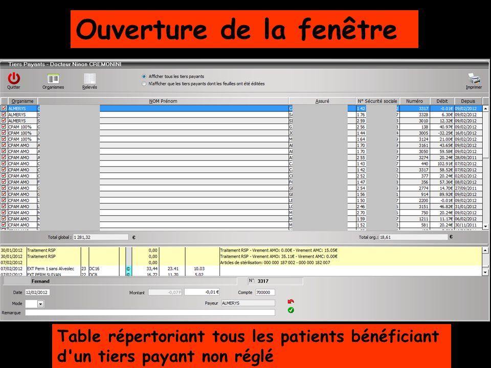 Ouverture de la fenêtre Table répertoriant tous les patients bénéficiant d'un tiers payant non réglé